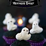 Meringue Ghosts on a Chocolate Cupcake
