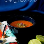 Roasted Red Pepper Soup with Quinoa Salsa