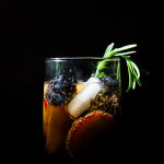 Pimm's Cocktail with Blackberries, Plums and Rosemary