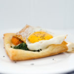Egg on Puffpastry with Ham, Cheese, Butternut Squash and Bok Choy